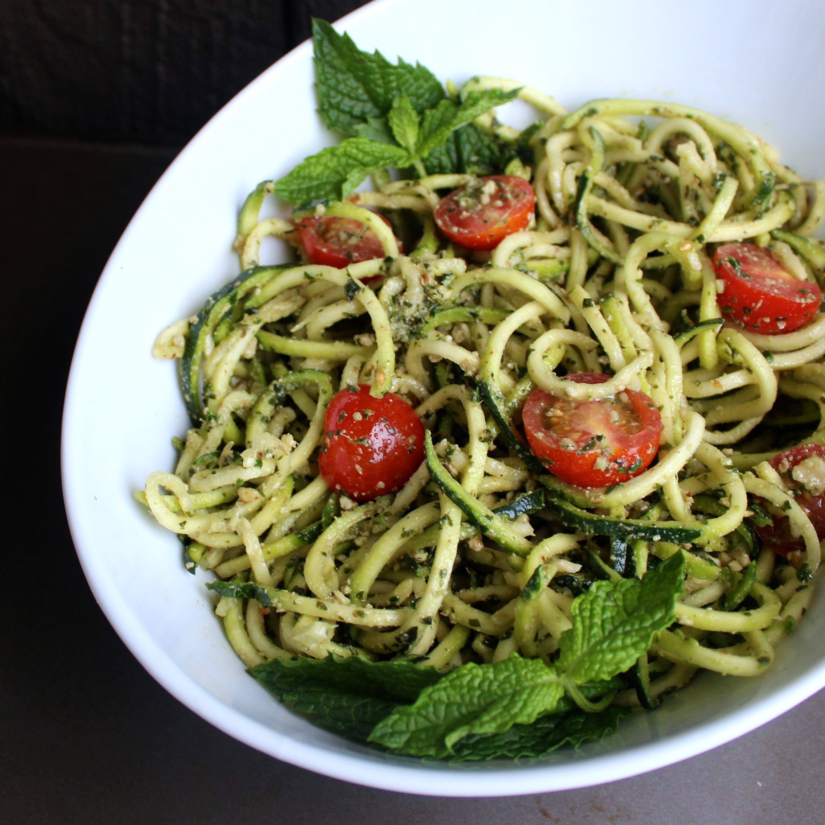 Inspiralized Zucchini Noodles with Mint Pesto