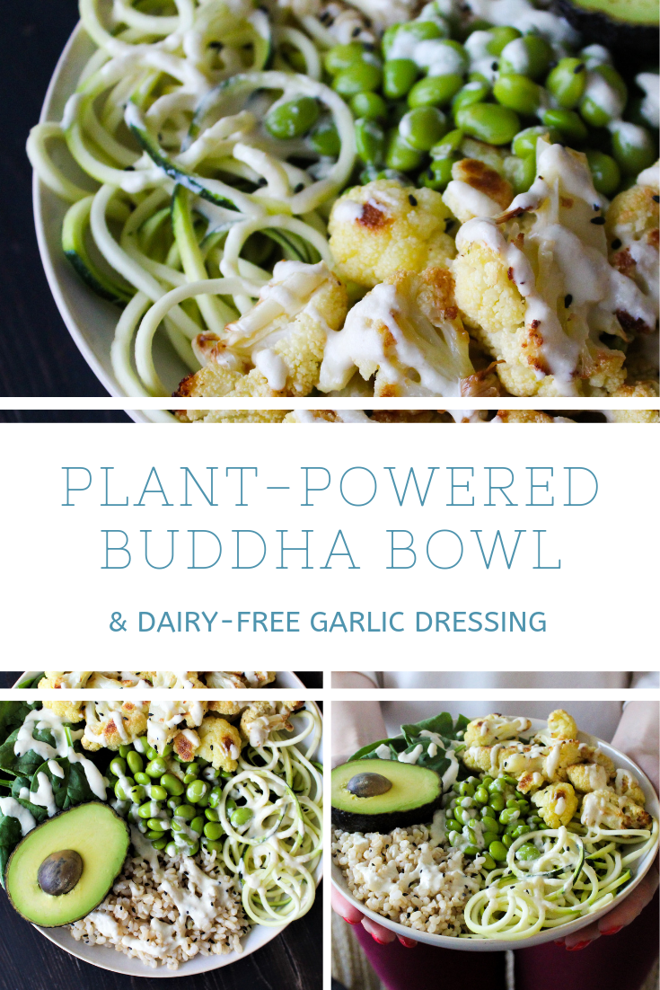PLANT-POWERED BUDDHA BOWL WITH CREAMY DAIRY-FREE GARLIC DRESSING (VEGAN, GLUTEN-FREE)