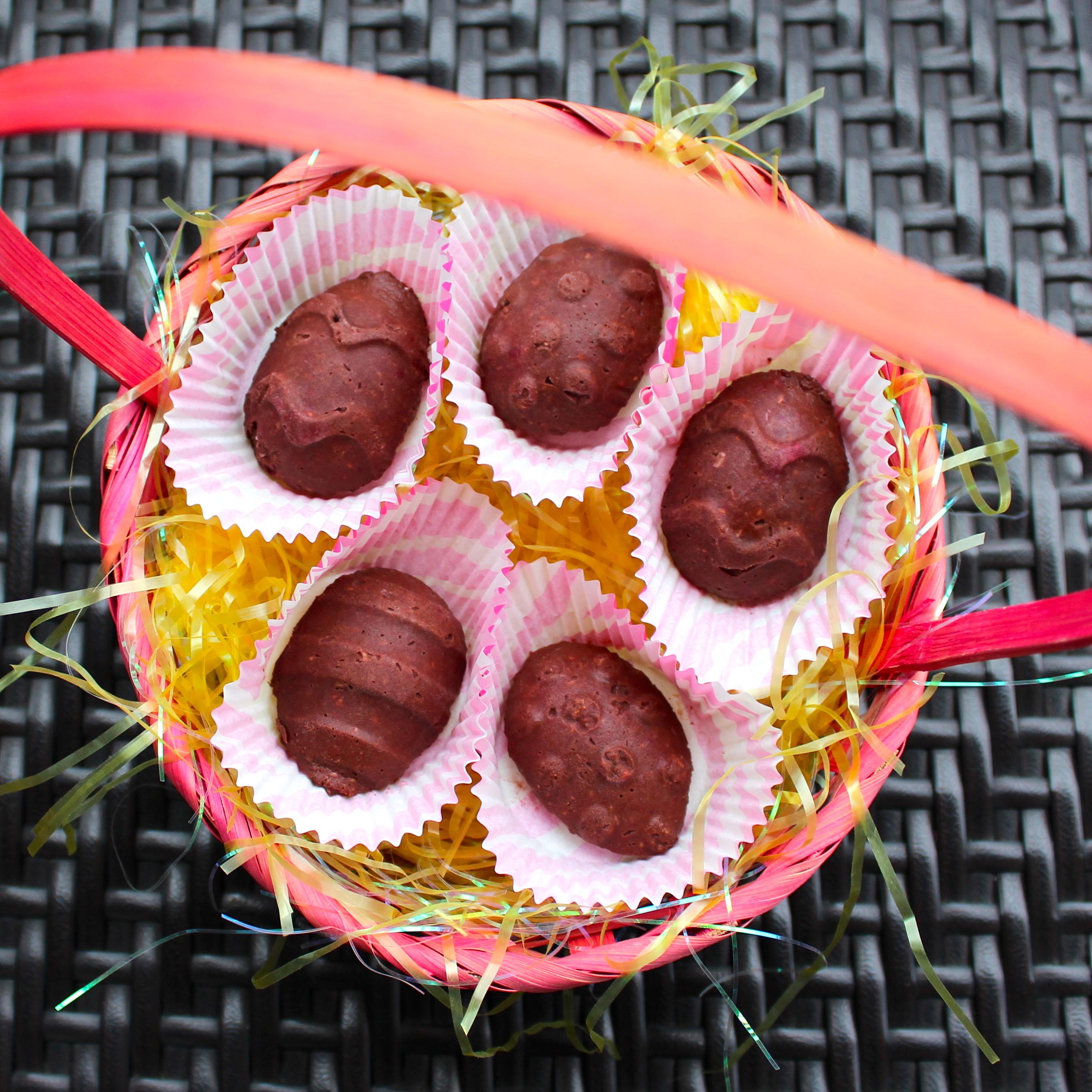 Raspberry Coconut Chocolate Eggs (Dairy-Free)